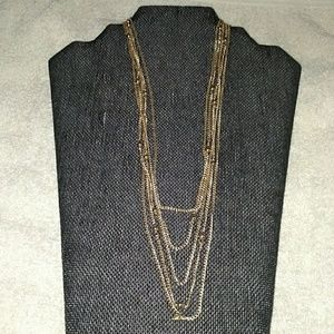 Necklace 5 Strands Goldtone